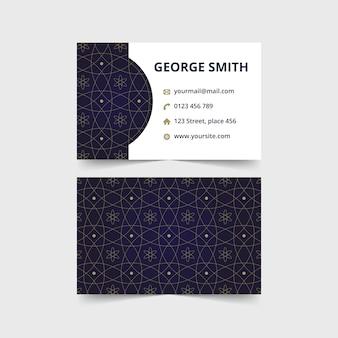 Cartão de visita de luxo abstrato com padrão de batik da marinha