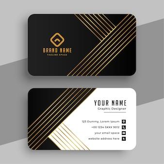 Cartão de visita de luxo com linhas douradas