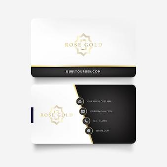 Cartão de visita de luxo com logotipo dourado
