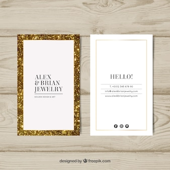 Cartão de visita de luxo com moldura dourada