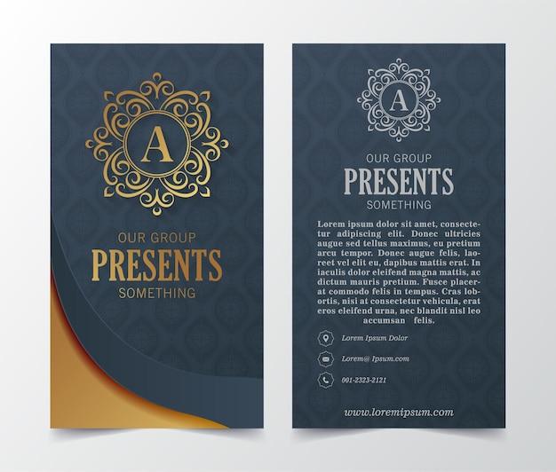 Cartão de visita de luxo e logotipo de ornamento vintage