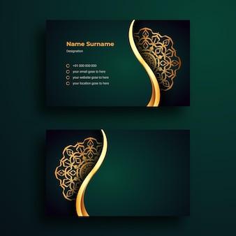 Cartão de visita de luxo mandala arabesque background