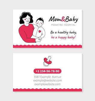 Cartão de visita de mãe e bebê em clínica pediátrica