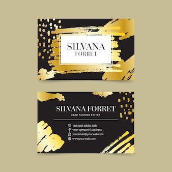 Cartão de visita de manchas douradas de modelo