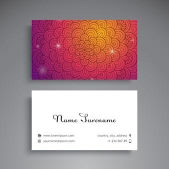 Cartão de visita de mandala brilhante colorido