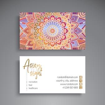 Cartão de visita de mandala criativo colorido