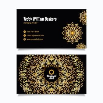 Cartão de visita de mandala dourada