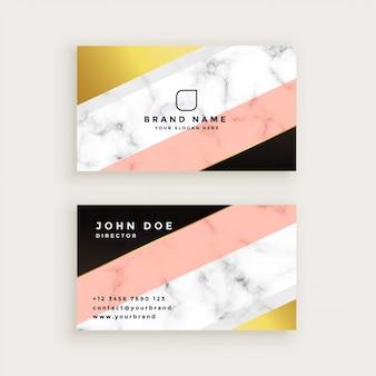 Cartão de visita de mármore à moda com ouro geométrico e cores pastel