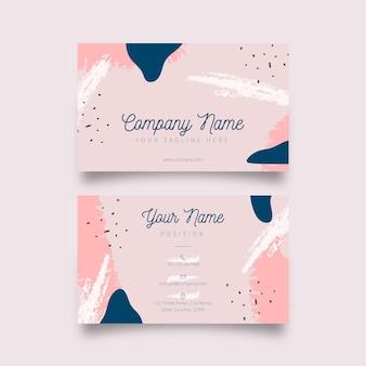 Cartão de visita de memphis com manchas de cor pastel
