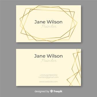 Cartão de visita de moldura dourada