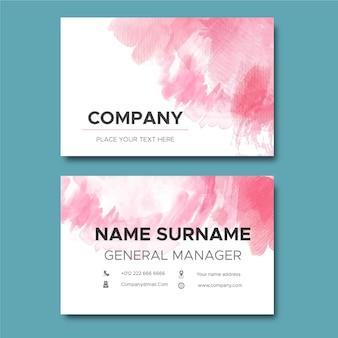 Cartão de visita de pincéis rosa abstratos