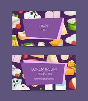Cartão de visita de produtos de leite e queijo dos desenhos animados