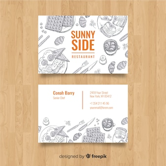 Cartão de visita de restaurante desenhado a mão