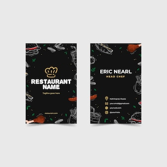 Cartão de visita de restaurante ilustrado