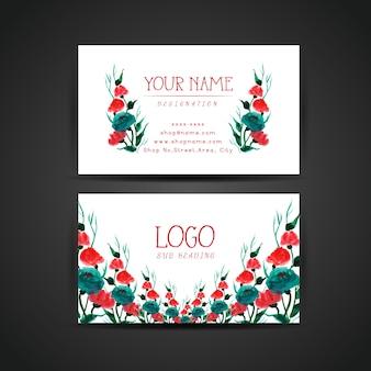 Cartão de visita de rosas vermelhas e azuis