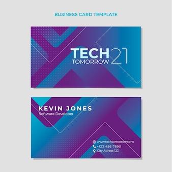 Cartão de visita de tecnologia gradiente de meio-tom horizontal