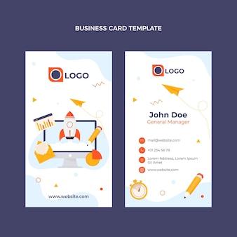 Cartão de visita de tecnologia mínima de design plano vertical