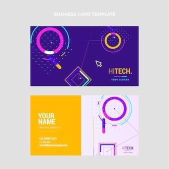 Cartão de visita de tecnologia plana mínima horizontal