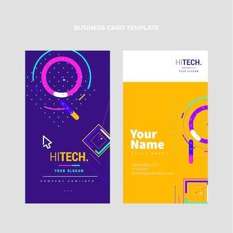 Cartão de visita de tecnologia plana mínima vertical