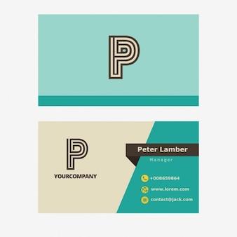 Cartão de visita de turquesa retro com letra p