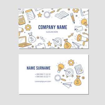 Cartão de visita desenhado à mão de elementos de negócios e finanças