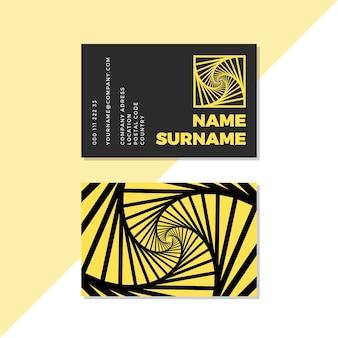 Cartão de visita distorcido preto e amarelo do redemoinho