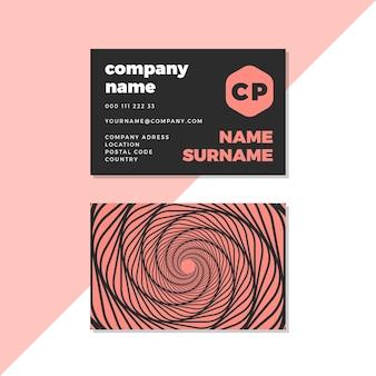 Cartão de visita distorcido preto e rosa do redemoinho
