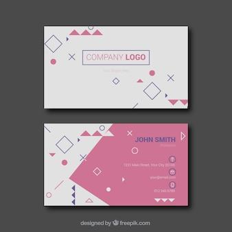Cartão de visita divertida com figuras geométricas
