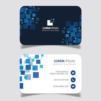 Cartão de visita do design quadrado azul