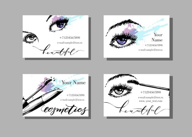 Cartão de visita do maquiador modelo vetorial com padrão de itens de maquiagem fundo da moda