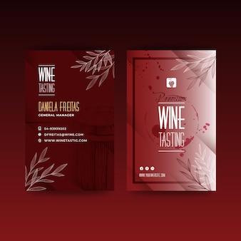 Cartão de visita do modelo de anúncio de degustação de vinhos
