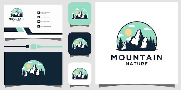 Cartão de visita do modelo do vetor do projeto do logotipo do logotipo da montanha