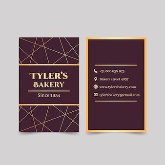 Cartão de visita dourado frente e verso
