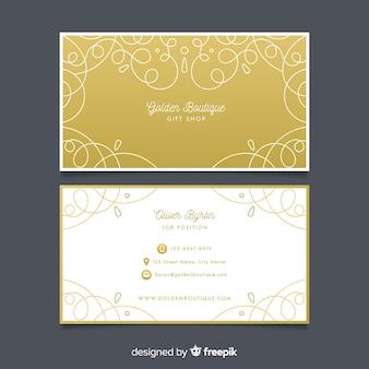 Cartão de visita dourado ornamental de modelo