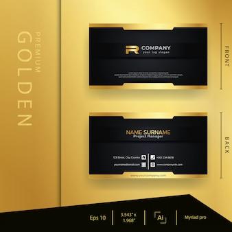 Cartão de visita dourado preto moderno com estilo luxuoso e elegante