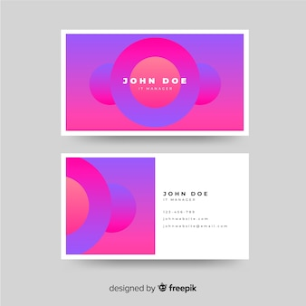 Cartão de visita duotone com modelo de formas de gradiente