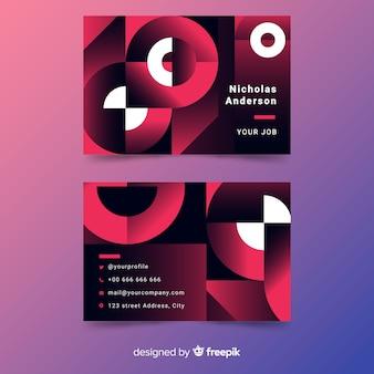 Cartão de visita duotônico modelo com modelos de gradiente