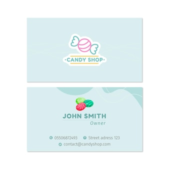 Cartão de visita dupla face candy h