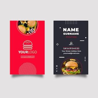 Cartão de visita dupla face com comida americana