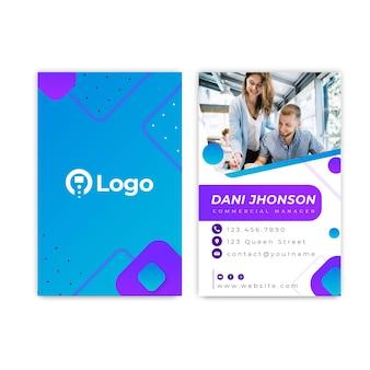 Cartão de visita dupla-face da empresa de marketing