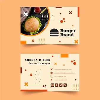 Cartão de visita dupla-face de comida americana
