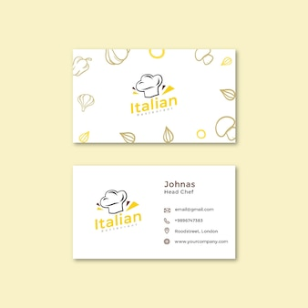 Cartão de visita dupla face de comida italiana h