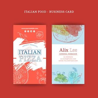 Cartão de visita dupla face de comida italiana v