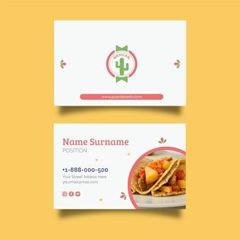 Cartão de visita dupla face de comida mexicana h