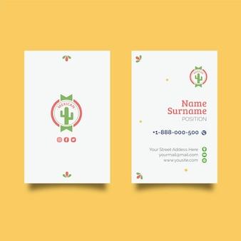 Cartão de visita dupla face de comida mexicana v