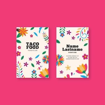 Cartão de visita dupla face de comida mexicana