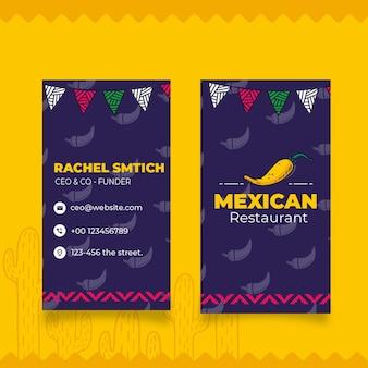 Cartão de visita dupla-face de comida mexicana Vetor Premium