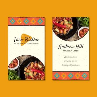 Cartão de visita dupla-face de comida mexicana