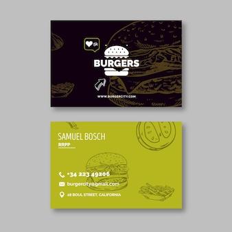 Cartão de visita dupla face de restaurante de hambúrgueres