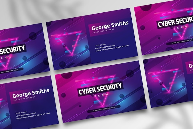 Cartão de visita dupla-face de segurança cibernética h